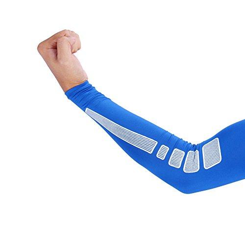 VGEBY 1 Paar Armbandage Kompressions-Ellenbogenbandagen Arm Sleeve Ellenbogen Schoner UV-Schutz Atmungsaktiv Herren Damen für Outdoor Basketball, Joggen, Fitness Sport (Farbe : Blau, Abmessung : L)