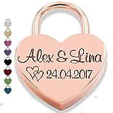 Liebesschloss Herzschloss mit GRAVUR liebes schloss Geschenk liebes-schloss Organzabeutel Jahrestag Valentinstag roségold rose rosa