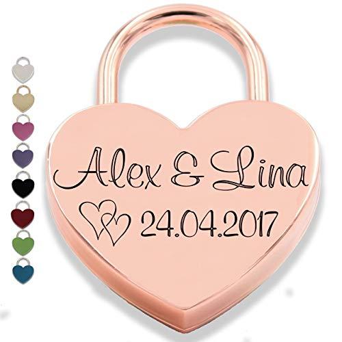 Liebesschloss Herzschloss mit Gravur und 2 Schlüssel persönliches Geschenk Jahrestag Valentinstag Muttertag Wunschgravur (Vorderseite, roségold)