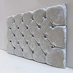 Made in the UK! Super Padded Soft Crushed Velvet Headboard Designer Diamond Design Available in 3 fantastic colours Shipping to Mainland UK only