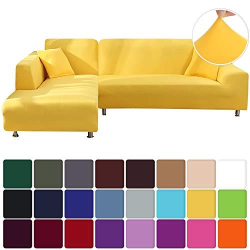 Papasgix Fundas de Sofá Chaise Longues Elastica,Cubiertas Protector de Muebles Elegante para Sala de Estar, Tejido del Poliéster Fundas de Sofá en Forma de L 2 Piezas,3 Plazas+3 Plazas,Amarillo