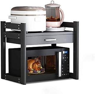 La créativité Porte-Four à Micro-Ondes de 2 Niveaux de Four à Micro-Ondes en Acier Carbone étagère montée au Sol avec tiro...