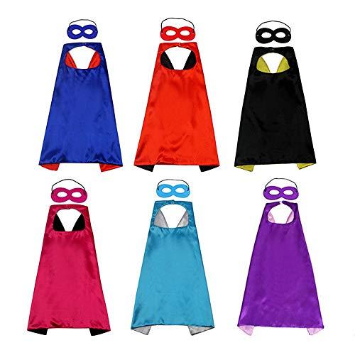 Hamkaw Capas Superheroes Niños, Disfraz de Cumpleaños de 6 Capas y 6 Máscaras para Niño, Disfraz Cosplay para Fiesta Cumpleaños, Regalos para Halloween Navidad Cumpleaños