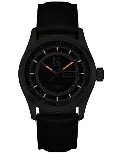 LuminoxAtacamaフィールドオートマチック1900シリーズ腕時計ブラックサンレイオレンジダイヤルレザーブラックストラップXL.1901