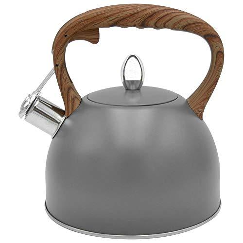 ORION Wasserkessel Wasserkocher Teekessel Flötenkessel Modern automatisch Grau Holz-Farbe 2,5L Gas Induktion