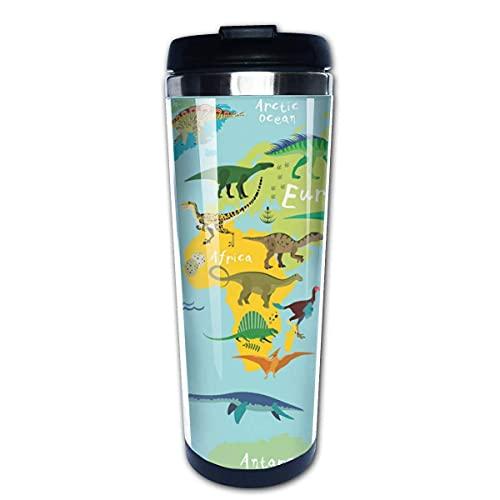 Taza de café de Acero Inoxidable Taza de café Reutilizable Adecuada para Viajes y Trabajo al Aire Libre Taza Tazas,Dinosaurio del mapa del mundo