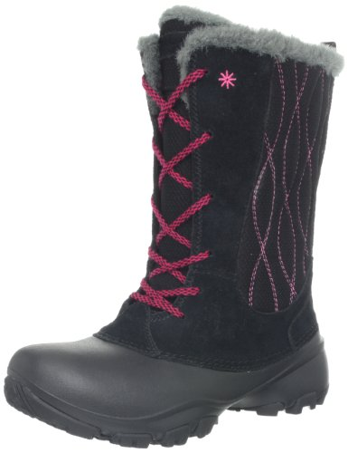 Hot Sale Columbia Snow Canyon Omni-Heat Waterproof Lace Up Winter Boot,Black/Bright Rose,1 M US Little Kid