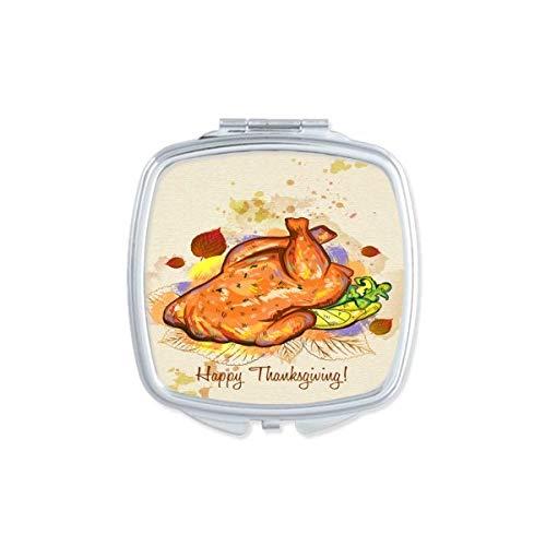 DIYthinker Thanksgiving Day Turquie Motif carré Maquillage Compact Miroir de Poche Miroirs Mignon Petit Cadeau Portable à la Main