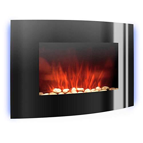 Klarstein Lausanne - elektrischer Kamin, E-Kamin, Kaminofen (Flammensimulation, LED, geräuscharm, 1000W oder 2000W Leistung, Dimm-Funktion, Fernbedienung, Wandmontage) horizontal, schwarz