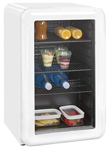 Exquisit Mini-Kühlschrank RKB 60-14 A+G | Retrostyle | 70 Liter | Glastür | 3 Gitterablagen | Weiß