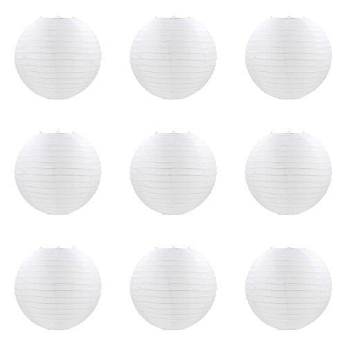 ACVIP Lampions Laternen aus Stoff Kugel-Form Lampenschirm Hängedeko Weiß (30cm)