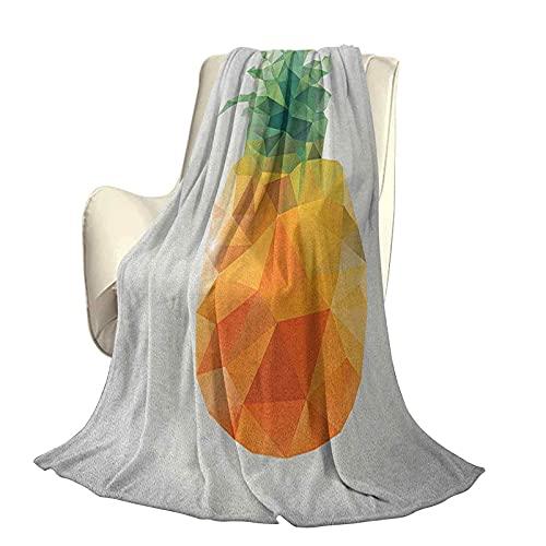 Manta de poliéster de Felpa de Microfibra Verde y Naranja Geométrica Poligonal Fruta Triángulos angulares Diseño de Arte Abstracto Manta antiestática Liviana de Alta Gama W60 x L50 Inch Fern