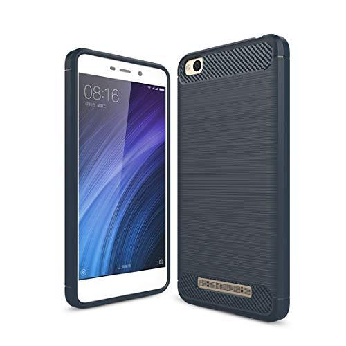 CUSTODIEXIAOM Xiaomi-Hüllen. for Xiaomi Redmi 4A Brushed Texture Carbon Shockproof TPU Rugged Armor Schutzhülle (Schwarz) (Farbe : Navy Blue)