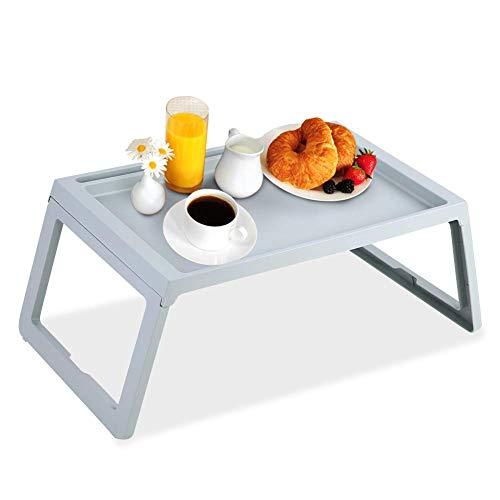 Greensen - Bandeja de cama para comer y portátil, bandeja plegable para desayuno, bandeja para aperitivos, bandejas para la cama, bandeja para leer y trabajar en el sofá cama, color azul