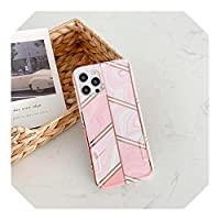Dhfsy 人気度 ピンクのElectroplatingGeometry Phone Case For iPhone 12 11 Pro X XR XS Max 8 7 Plus 12 Mini SE 2020 Soft Silicone Back Cover Coque-3-For iPhone XR