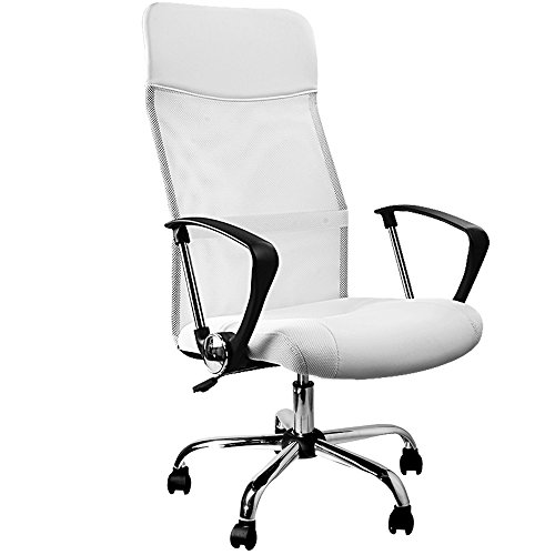 Deuba Silla de Oficina Blanca Altura Ajustable Respaldo ergonómico y Transpirable Asiento de Escritorio