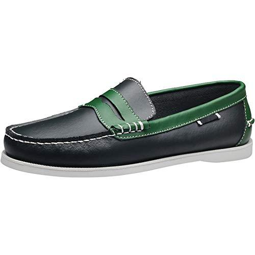 Wealsex Classic Zapatos del Barco para Hombre Zapatos Casuales De Encaje Azul Y Verde Tamaño 40