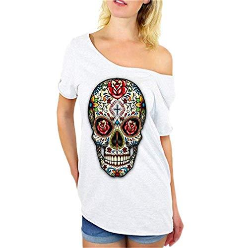 SLYZ Camiseta Estampada De Verano para Mujer, Camiseta De Manga Corta con Hombros Descubiertos Y Calavera En Color para Mujer