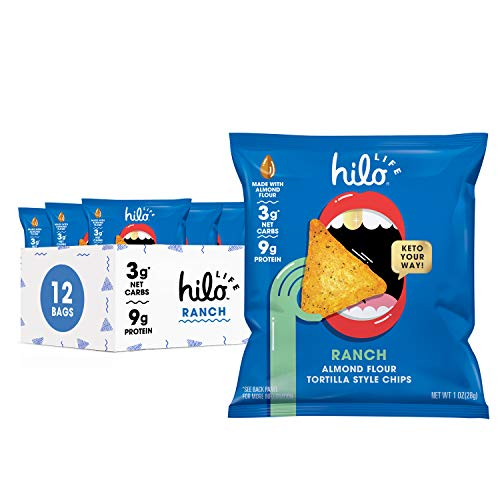 Hilo Life Low Carb Keto Friendly Tortilla Chip Snack Bags, Ranch, 12 Count Pack 12 oz