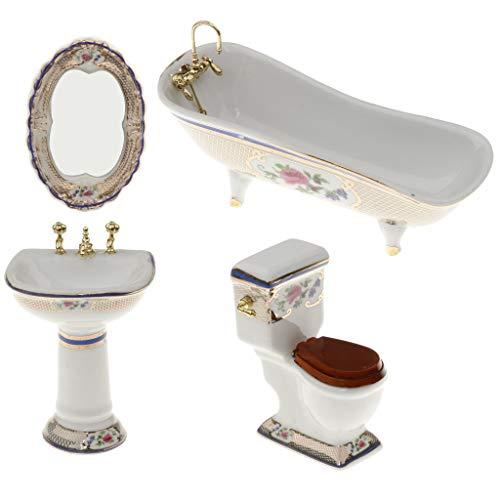 LULIJP Cuarto de baño Set de Lavado Cuarto de baño WC Bañera decoración Conjunto de muñecas en Miniatura de Accesorios de baño Decoración Organizador del almacenaje de baño Set