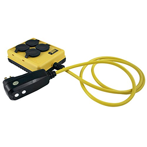 Yellow Jacket 2516 Coleman Duplex Right Angle Quad Box With Gfci, 125 V, 15 A, 14/3 Awg Sjtw, Gauge
