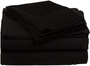 600 Thread Count Four (4) Piece King Size Solid Bed Sheet Set, 100% Egyptian Cotton, Premium Hotel Quality King Black