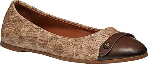 COACH Brandi Ballet Flat Saddle/Tan Logo 8 B