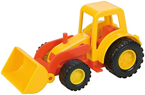Lena 01231 Mini-compacte tractor met schep, wiellader ca. 12 cm, trekker-scheplader voor kinderen vanaf 2 jaar, robuust voertuig voor zandbak, strand en kinderkamer.