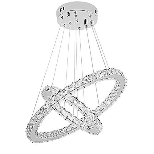 SAILUN 48W LED cristallo Design Lampada A Sospensione Due Anelli lampada a sospensione lampadario creativo lampadario da soffitto lampadario (48W Dimmerabile)