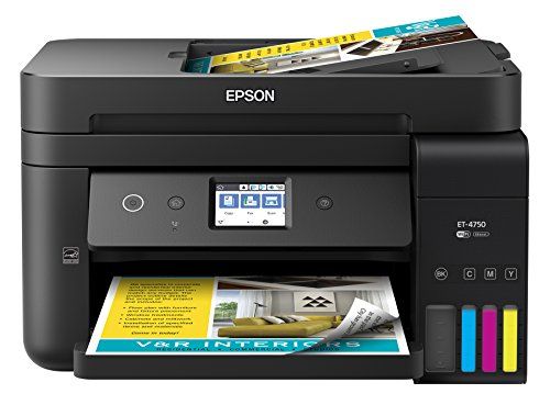 Epson Workforce ET-4750 EcoTank Wireless Color All-in-One Supertank Printer Scanner, Copier, Fax Ethernet