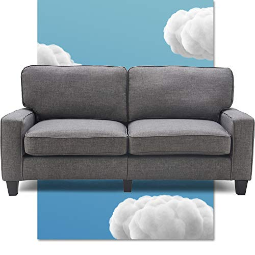 """Serta Palisades Upholstered Sofas for Living Room Modern Design Couch, Straight Arms, Soft Fabric Upholstery, Tool-Free Assembly 73"""" Sofa Fabric Gray"""