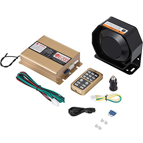 Mophorn 400W 8 Sound Loud Car Warning Police Fire Emergency Alarm Fire Siren 1 Horn PA Speaker MIC System Vehicle Siren