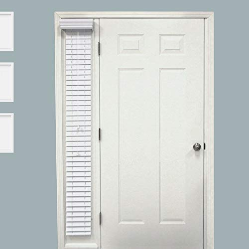 TailorView, Custom Made 2 Inch Faux Wood Sidelight Single Blind for Door, Outside Mount, Snow White, Exact Blind Size: 10
