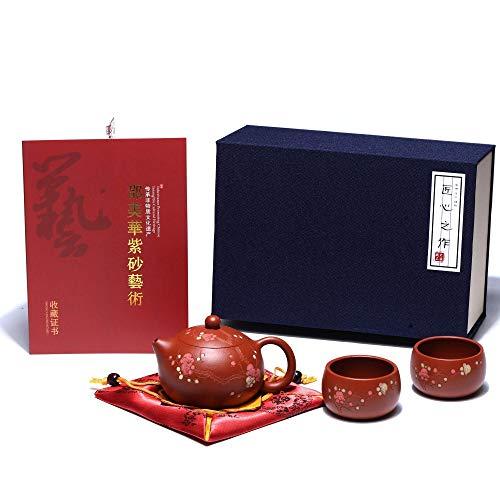 SILINE Zisha Teapot Set Chinese Yixing Clay Tea Pot 6oz with 2 Cups,Personal Tea Maker Set,Masterpieces
