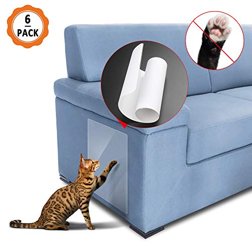 Dadabig krasbeschermer voor katten met 6 stuks kratten, meubelkrasbeschermers Flexibele transparante kattenkrasbeschermer voor bank, tapijt, bekledingsmuren, matras, deur enz.