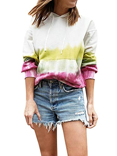 Xiaoqiao Women Tie-Dyed Printed Sweatshirt Long Sleeve Pocket Blouse Pullover Hoodie with Drawstring (White, M)