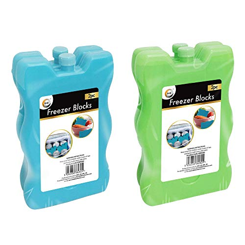 Bloques de congelador, juego de 2 unidades | Ideal para bolsas de hielo de larga duración reutilizable | Ideal para cajas de almuerzo escolar, camping, picnic, senderismo