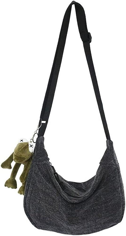 Canvas Shoulder Bag Cross-Body Handbags Unisex Shopping Bag Casual Hobo Bag Crossbody Bag Messenger Bag for Men & Women