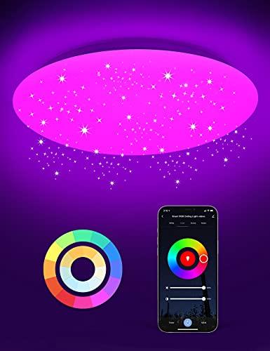 Alexa Plafoniera LED Soffitto Stellata WiFi, Maxcio 24W 35cm Plafoniera Compatibile con Alexa e Google Home, Maxcio APP Controllo, Smart Lampada LED Dimmerabile RGBCCT, Adatto per Camera da Letto