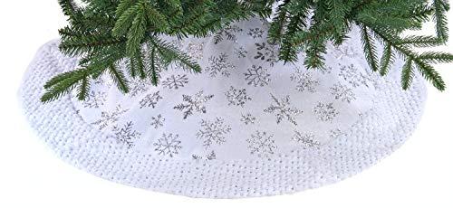 Festive Productions - Gonna per albero con fiocchi di neve argentati, 90 cm