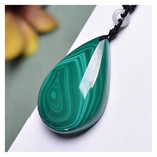 Piedra Rugosa Malachite Gota de Agua Colgante Collar de Piedra Natural Yoga Collar de energía Mujeres Hombres Moda Accesorios de joyería decoración del hogar