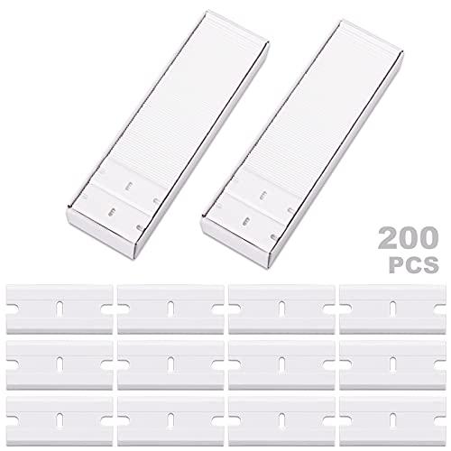 "FOSHIO 1.5"" Plastic Locking Razor Blade Scraper with Safety Cap - 2pcs Scraper and 100pcs Double Edged Plastic Blades (White)"