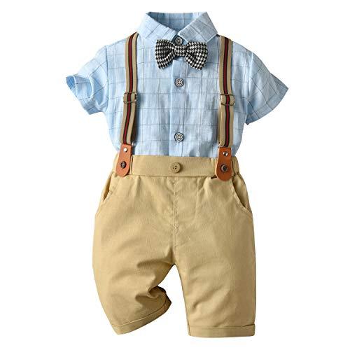 Cotrio Crianças meninos cavalheiros suspensórios ternos formais de botão camisa shorts conjunto com gravata borboleta 12-18 meses cáqui