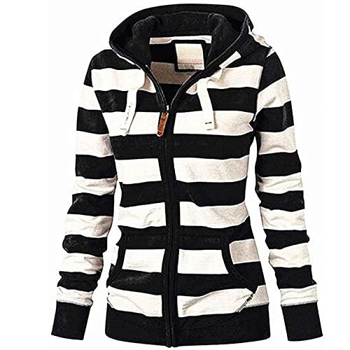 Wave166 Sudadera con capucha para mujer, con cremallera, patchwork, color a rayas, con cordón y bolsillos, moda suelta, deportiva, Negro , XL
