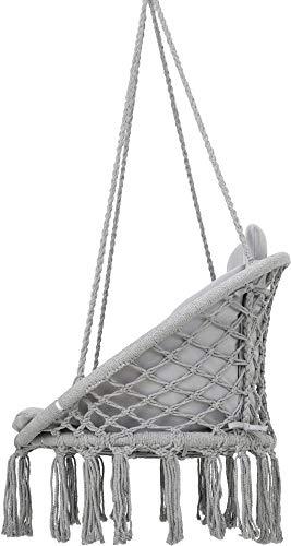 VITA5 Hängesessel mit Kissen, Bücherfach & Abdeckhaube - Hängestuhl für Erwachsene & Kinder -Belastbar bis 150 kg - Hängesessel Outdoor & Indoor (Wohn & Kinderzimmer, Garten) (Grau) - 7