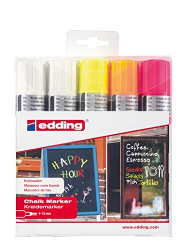edding 4090 Kreidemarker - Farbe: 5er-Set (2 Weiß, Neongelb, Neonpink, Neonorange)- Kreidestift/Fenstermarker - Beschriften von Fenster, Tafel und Glas - Feucht abwischbar