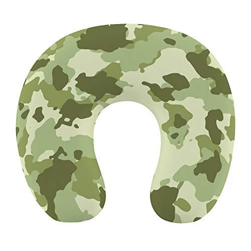 Almohada de viaje de espuma viscoelástica, diseño militar verde, almohada de apoyo para la cabeza del cuello para avión, coche, casa, oficina, con correa de cierre a presión, funda suave y lavable