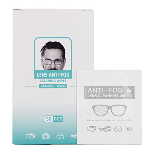 Toallitas antiniebla para gafas, toallitas limpiadoras de lentes para gafas, gafas, protectores faciales, cámaras, pantallas, teléfonos, prehumedecidas y envueltas individualmente (30 unidades)