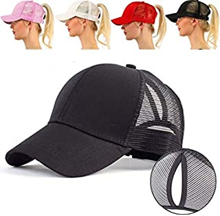 Dongmei Ladies Summer Fashion Sports Ponytail Baseball Cap Women Messy Bun Baseball Hat Snapback Caps (Gray)