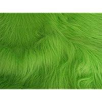 CRS Fur Fabrics Tela de Pelo sintético de Pelo Largo, Color Verde Lima